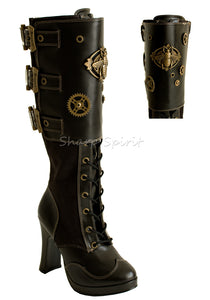 "4"" Platform Steampunk Knee Boot Cog & Bee"