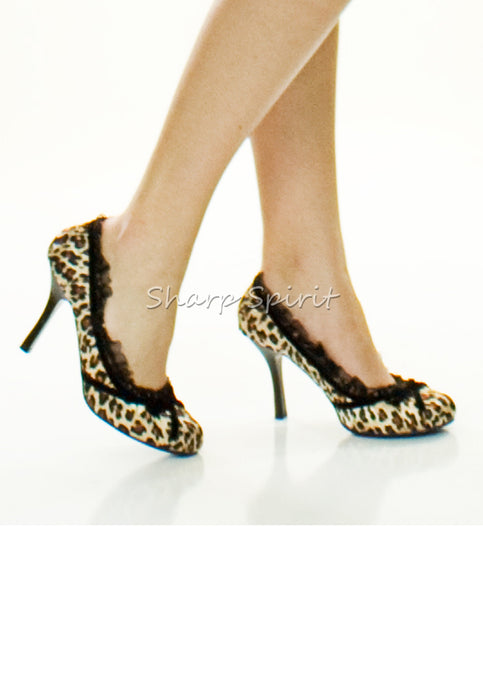 Leopard Print Satin Pump With Velvet Bow Heels