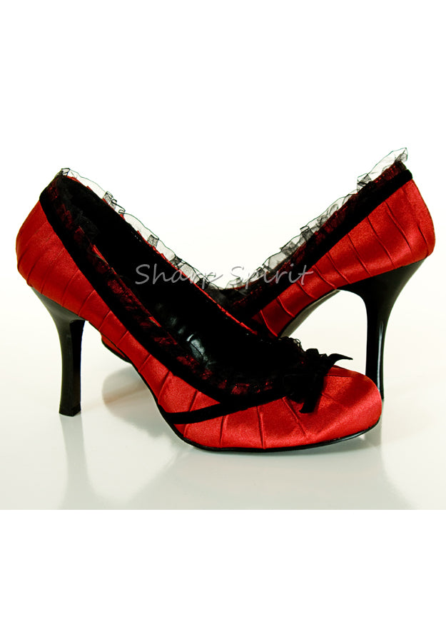 4 Heel Satin Pump With Velvet Bow.