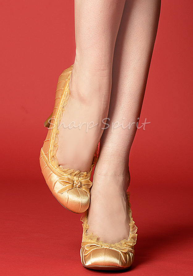 Gold Satin Pin Up Heels w/ Lace Trim