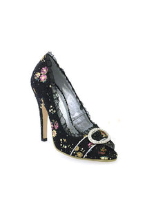 4.5 Decorative Fabric Peep-Toe W/Rhinestones.