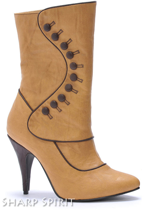 Tan Mid-Calf Boots w Buttons