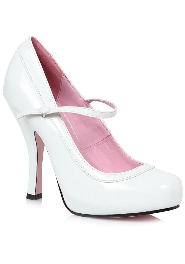 White Pretty Mary Jane Heels
