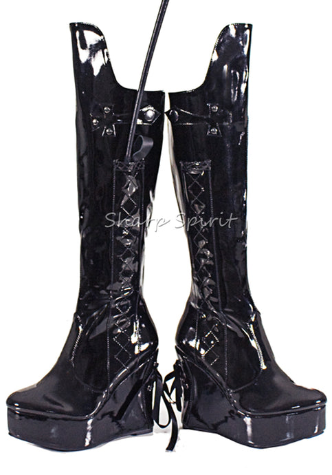 4.5 Heel Knee High Boot With Whip