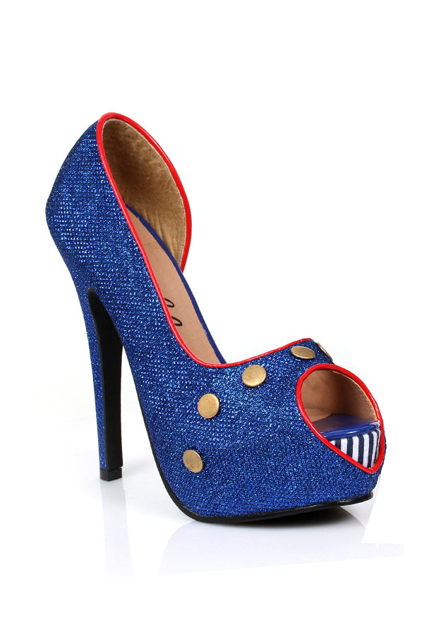 Blue Glitter Peep Toe Shoes