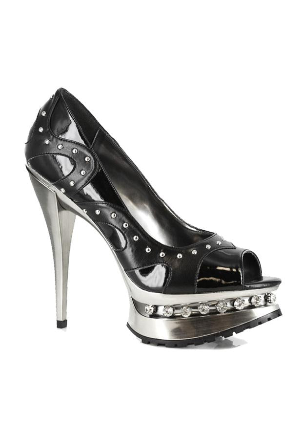 5 Metallic heel with rhinestones and upper stud details
