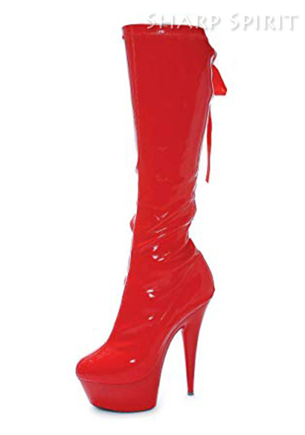 6 Inch Red Pointed Stiletto Stretch Knee Boot W/Back Laces & Zipper