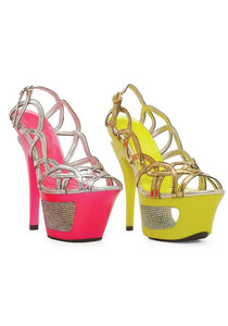 6 Neon Cut Out Heel With Rhinestone
