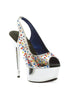 6 Platform Peep Toe W/Multi Colored Rhinestones