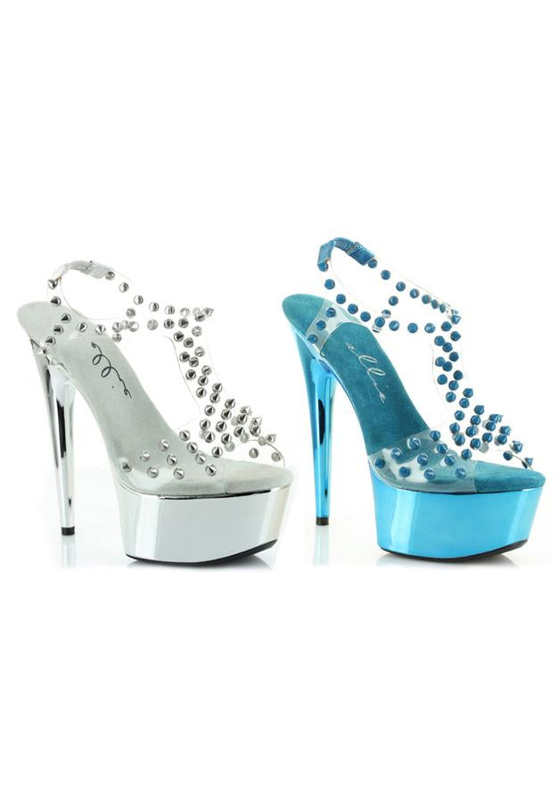 6 Spikes Embellished Open Toe Sandal on Clear
