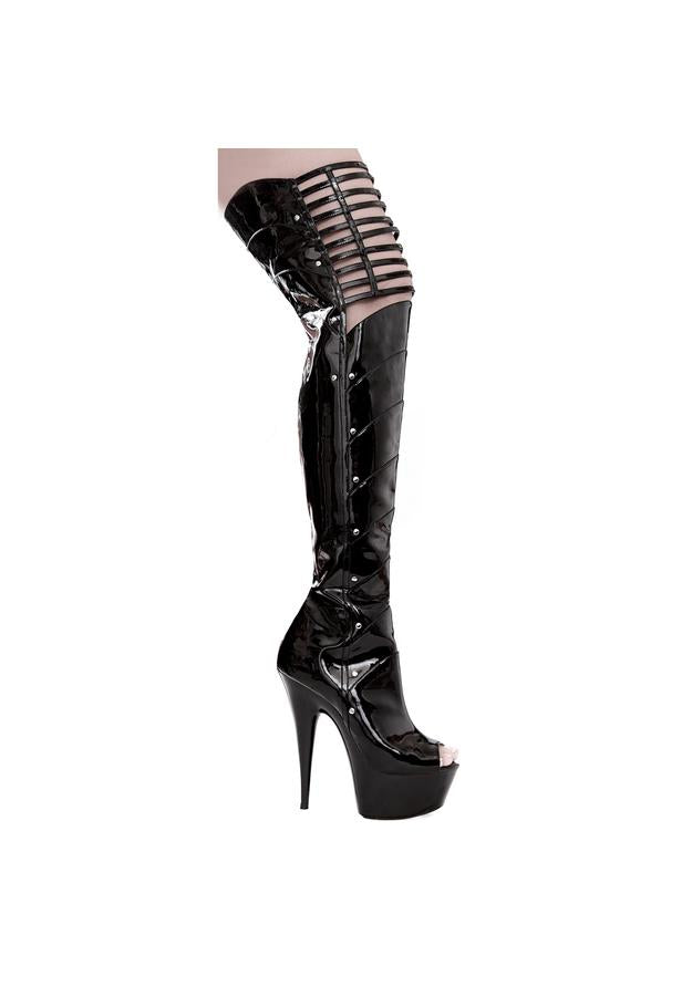 6 PEEP TOE THIGH HIGH W/ KNEE CUT-OUTS
