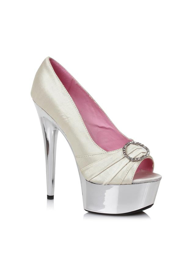 6 Satin Peep Toe Chrome Platform W/RhineStone Buckle