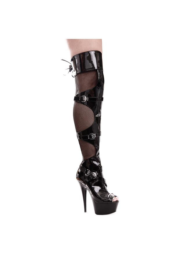 6 PEEPTOE FISHNET THIGH HIGH W/ BUCKLES