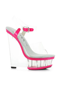 6 Clear And Neon Wedge With Ankle Strap