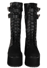 Load image into Gallery viewer, 90s Grunge Style Steampunk Military Combat Platform Womens Boots