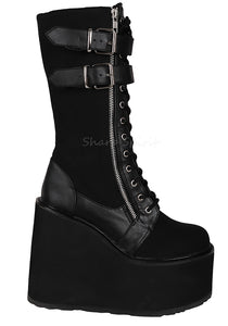 90s Grunge Style Steampunk Military Combat Platform Womens Boots