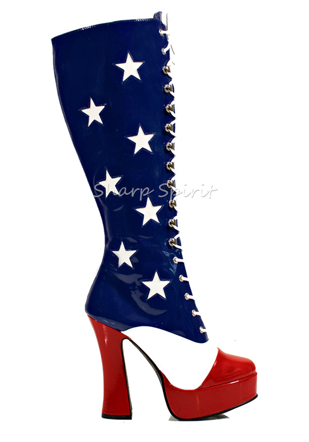 Red White & Blue American Flag Stars Boots