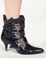 Load image into Gallery viewer, Ankle High Pointy Toe Witchy Booties