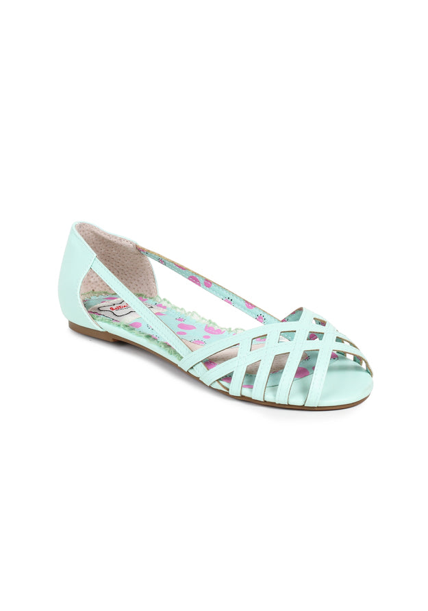 Criss Cross Peep Toe Flat