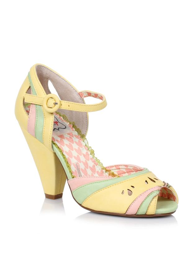 4 Color Block Retro Open Toe Heel