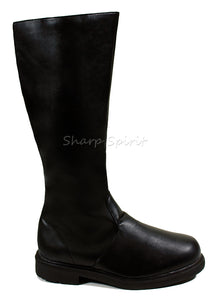 Black Faux Leather Super Hero Cosplay Mens Boots