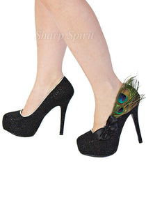 Black Glitter Peacock Feather Pumps