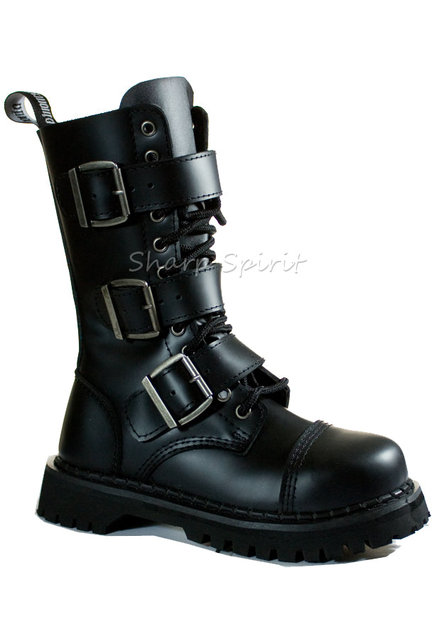 Black Leather Buckle Strapped Boots