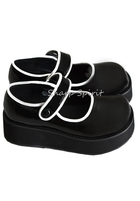 Black & White Mary Jane Platforms w Velcro