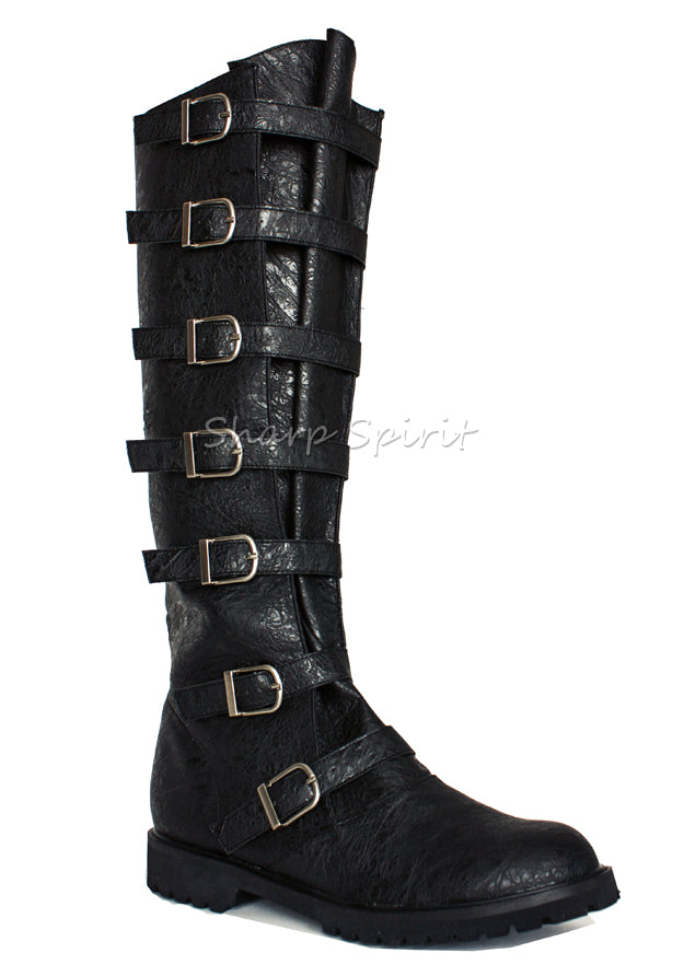 Multi Strap Cosplay Military Combat Knee High Boots
