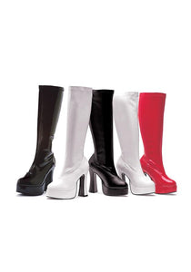 5 Heel Stretch Knee Boots. W/Inner Zipper.