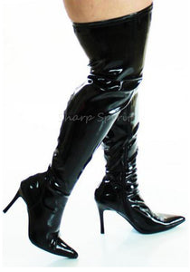 Dominatrix Black Pat Wide Boots