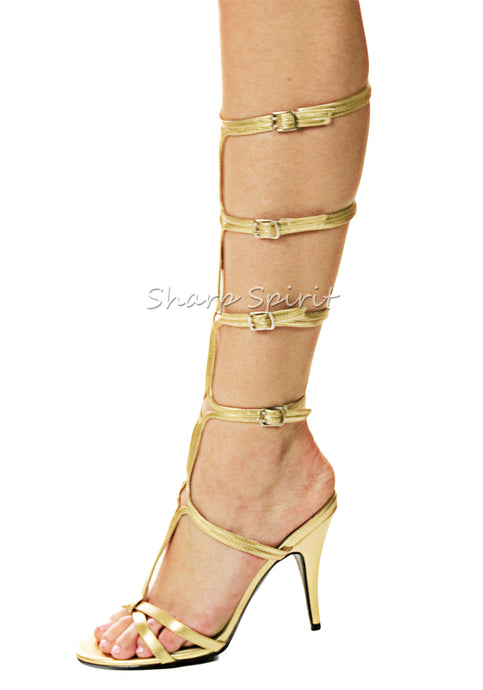 Gold Open Toe Gladiator Sandals