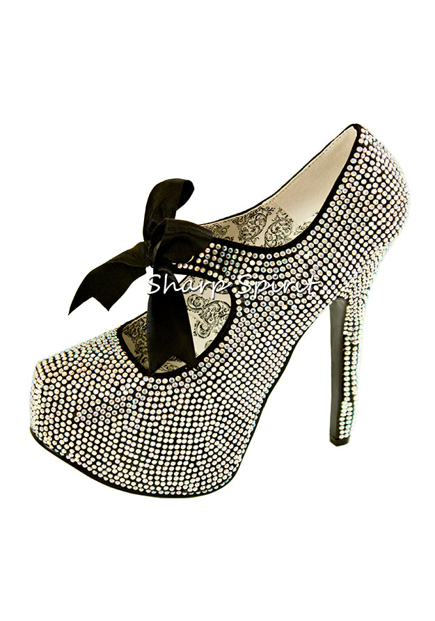 Iridescent Rhinestone Mary Jane Shoes