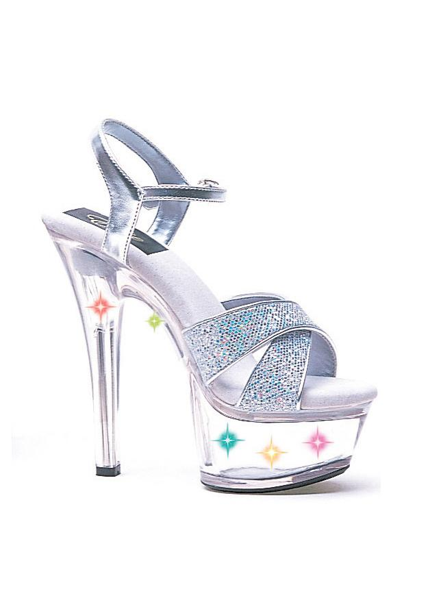 6 Heel Silver Glitter Sandal W/ Multicolor Lights.