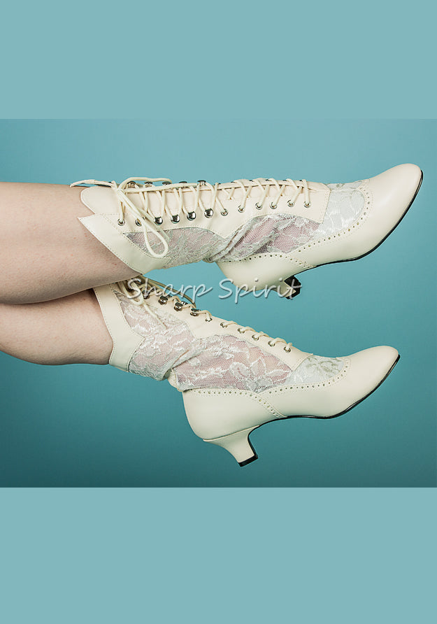 Marie Antoinette in Ivory Lace Boots