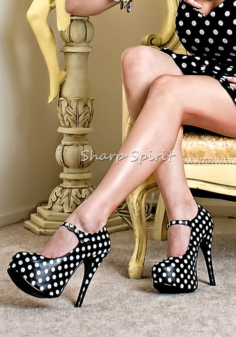 Polka Dot Strappy Pumps