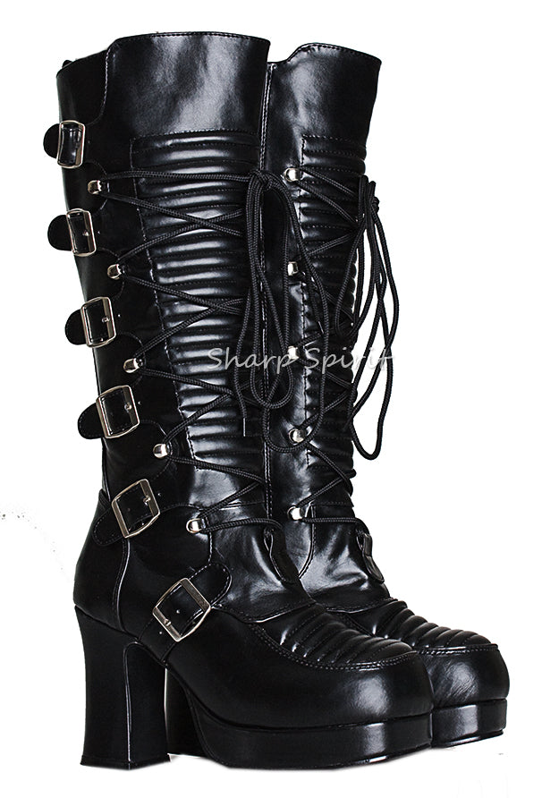 Rave Lace Up Platform Military Combat Steampunk Womens Boots