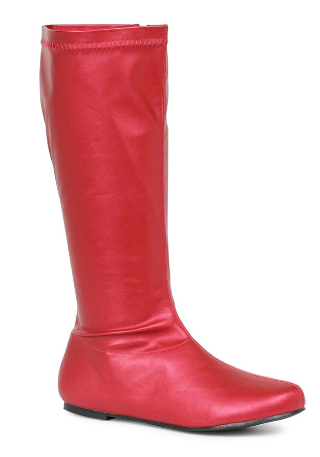 Red 1 Inch Heel Knee High Gogo Boots
