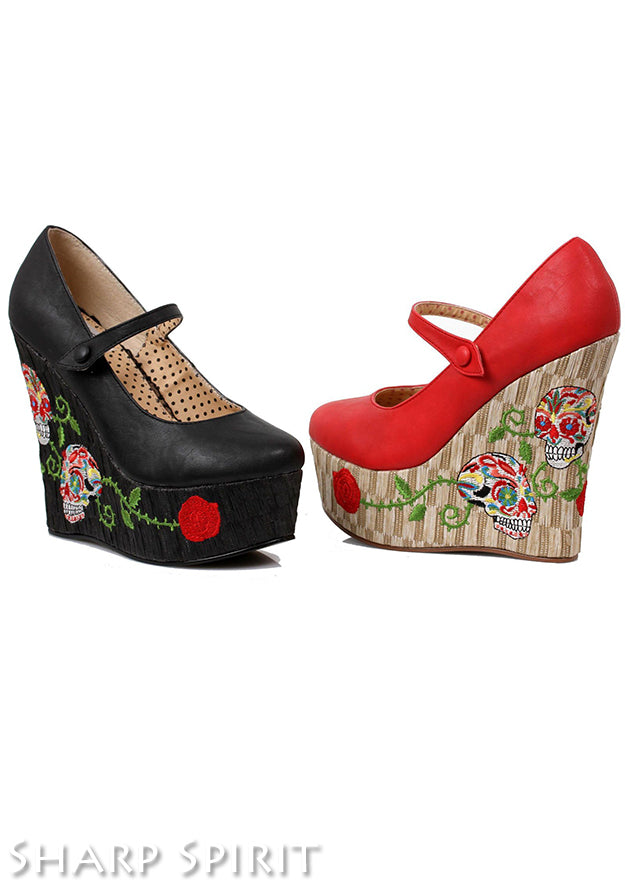 Red 4.5 inch closed toe wedge w skull pattern
