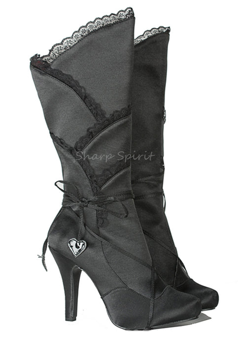 Satin Black Knee High Womens Boots w Ruffle
