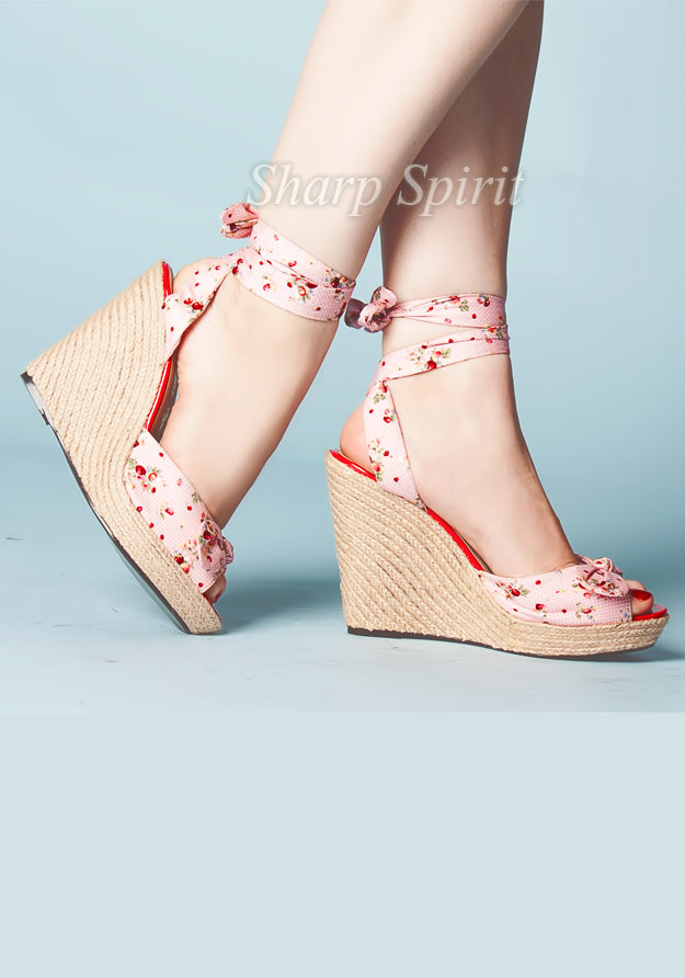 Strawberry Wrap Around Wedge Platforms
