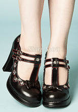 Load image into Gallery viewer, T-Strap Mary Jane Heels w Skulls