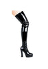 5 Chunky Heel Thigh High Stretch Boots.
