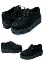 Load image into Gallery viewer, Vegan Suede Platform Creeper Shoes