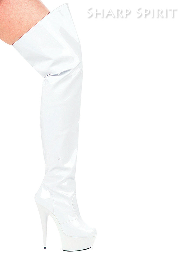 White 6 Inch Heel Pointed Stiletto Thigh High Boots