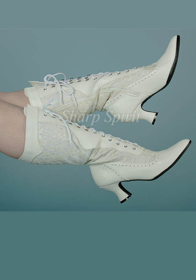 White Victorian Lace Pointy Toe Boots