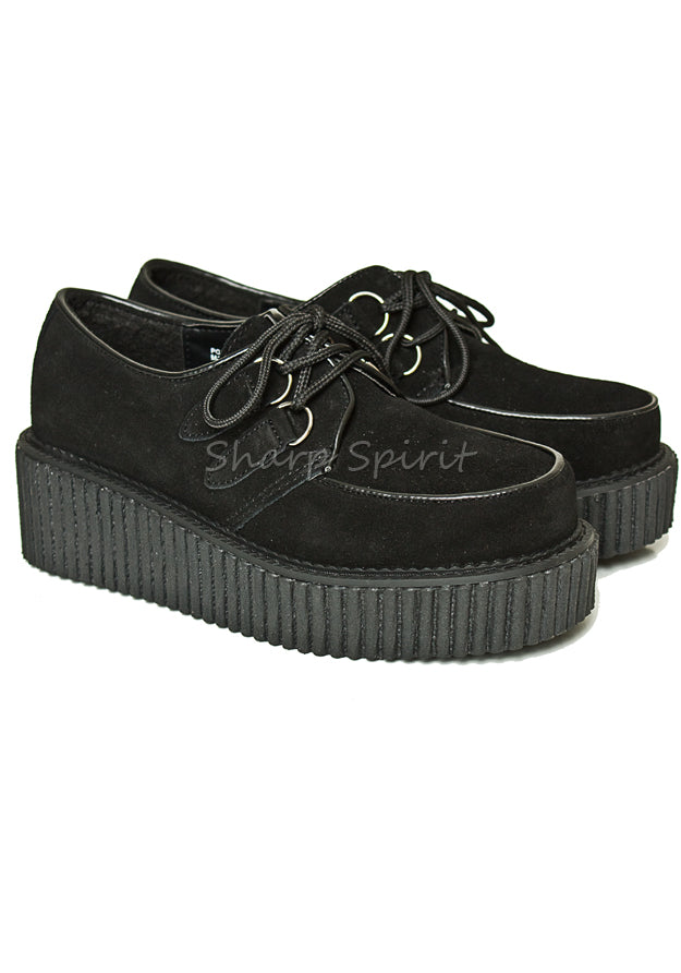 Womens Black Suede Platform Creeper Shoes