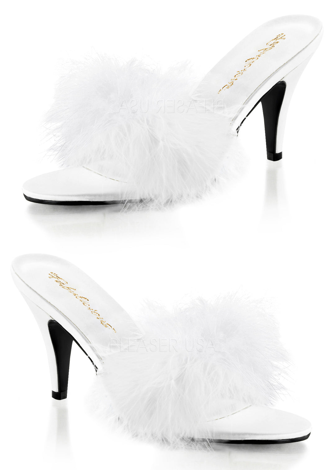 Angel White Marabou Feather Sandal