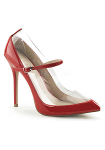 Red & Transparent Mary Jane Heels