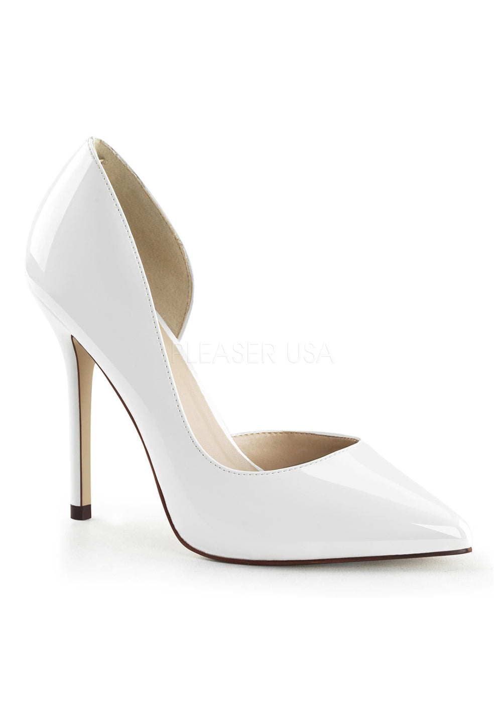 White Patent Dorsay High Heels